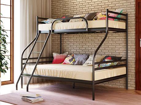Двухъярусная металлическая кровать СМАРТ (SMART) с приставной лестницей, фото 2