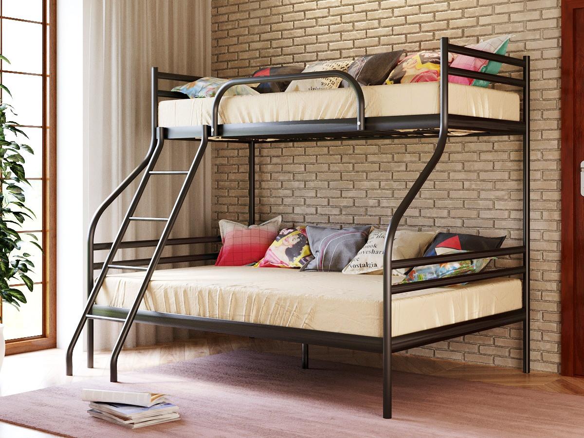 Двухъярусная металлическая кровать СМАРТ (SMART) с приставной лестницей