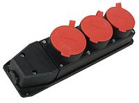 Розетка каучуковая трехмесная с защитными крышками230В, 2P+PE, 16A, IP44 GAV 466