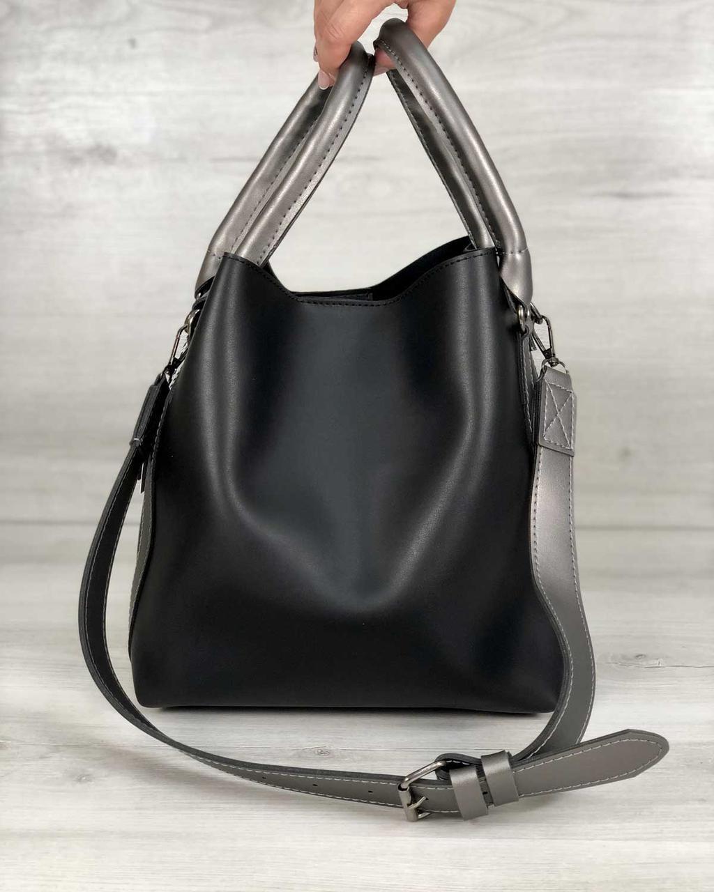 Молодежная женская сумка Леора черного цвета