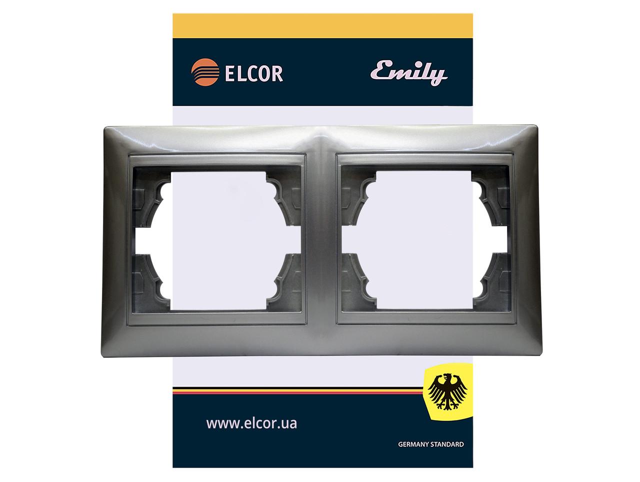 Рамка 2-місна горизонтальна Emily 9215 сірий металік ELCOR