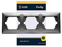 Рамка 3-місна горизонтальна Emily 9215 сірий металік ELCOR