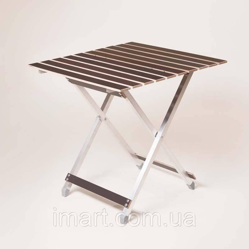 """Стол складной легкий """"Aluwood"""" большой 64х66 см. Для дачи, природы"""
