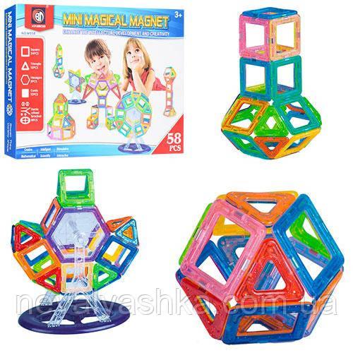 Конструктор Магнитный Mini Magical Magnet развивающий Фигуры и др., 58 дет., M058 011185