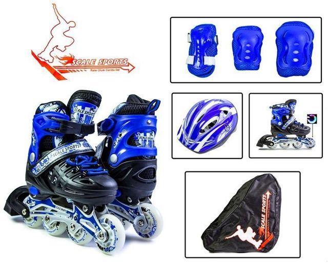 Комплект роликов с защитой и шлемом Scale Sport. Синие. Размеры 29-33, 34-38
