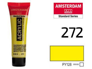 Краска акриловая AMSTERDAM 272 Прозрачный желтый средний 20 мл Royal Talens, фото 2