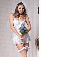 Белоснежный сексуальный комплект Невесты с фатой №144
