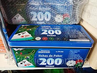 Игра покер, Black Jack, фишки 200, карты, игровое поле. В железной коробке.