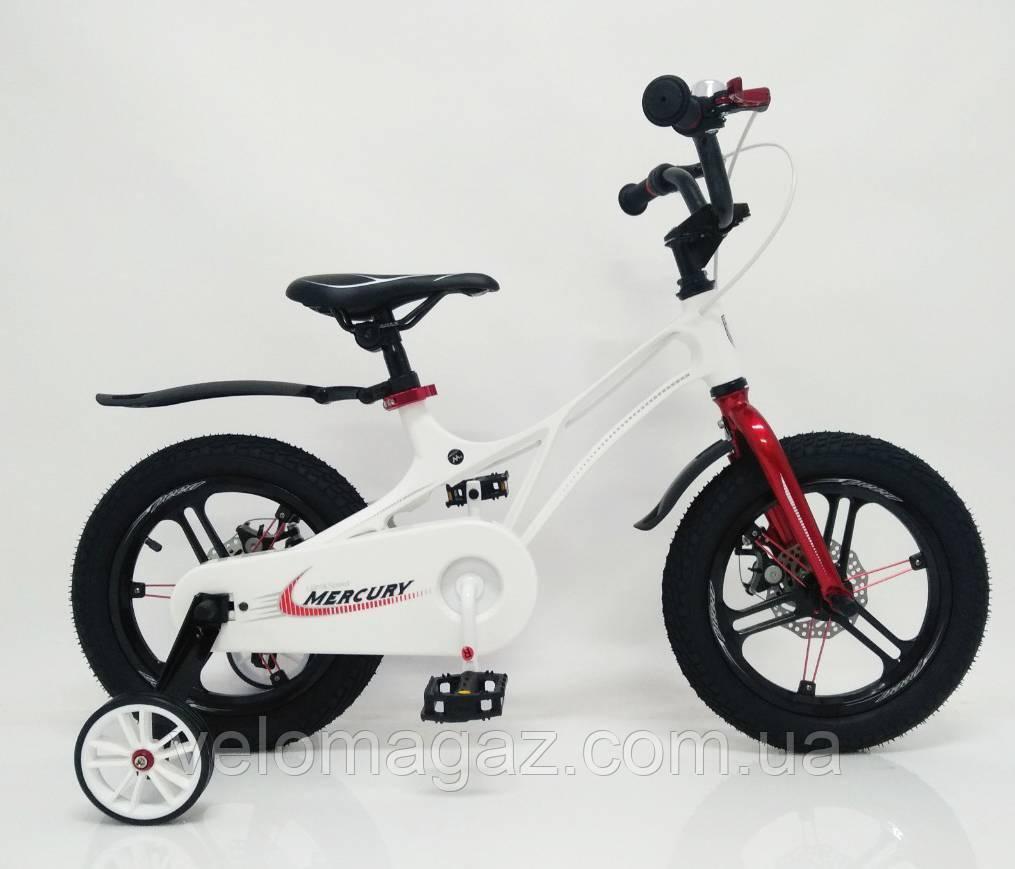 """Дитячий велосипед SIGMA MERCURY 16"""" з дисковими гальмами. Магнієва рама (Magnesium), білий"""