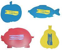 Досточка для пластилина фигурная (рыбка, поросенок, яблоко, груша)