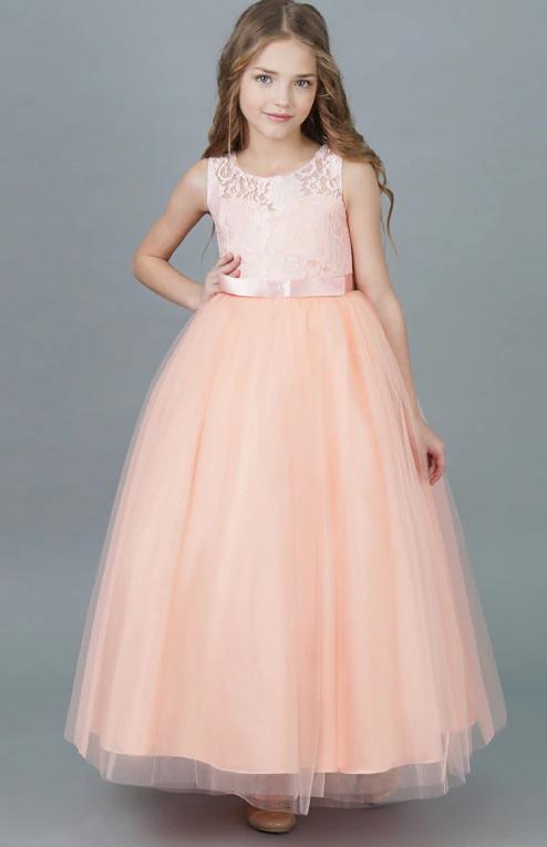 Святкове персикове Чепурне Бальна сукня в підлогу, для девочкіPeach tree2021