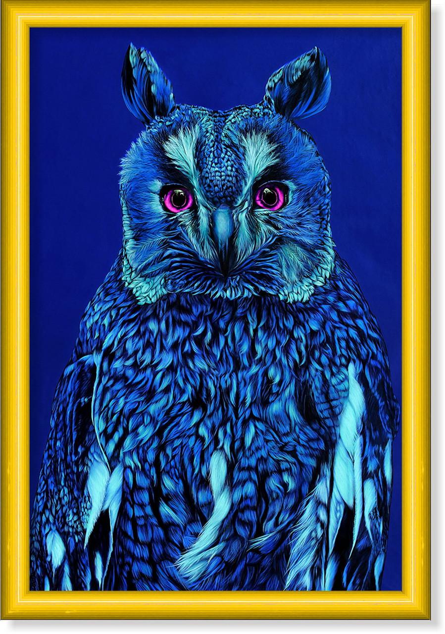 Репродукция  современной картины  «Синяя сова на голубом» 30 х 45 см