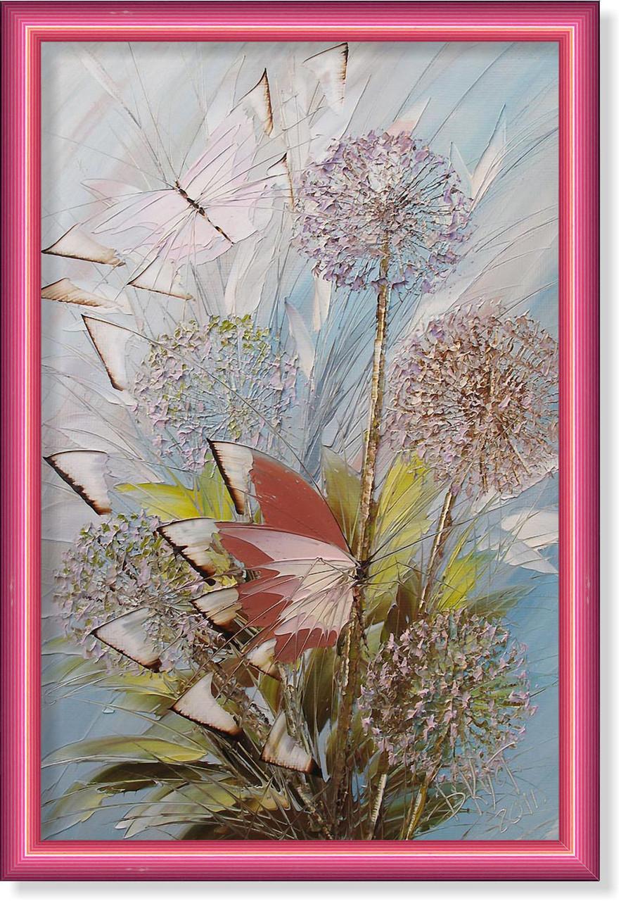 Репродукция  современной картины  «Бабочки и одуванчики» 30 х 45 см