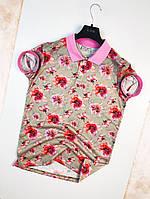 Мужская футболка поло летняя серая с розовым с цветком. Живое фото. Топ качество