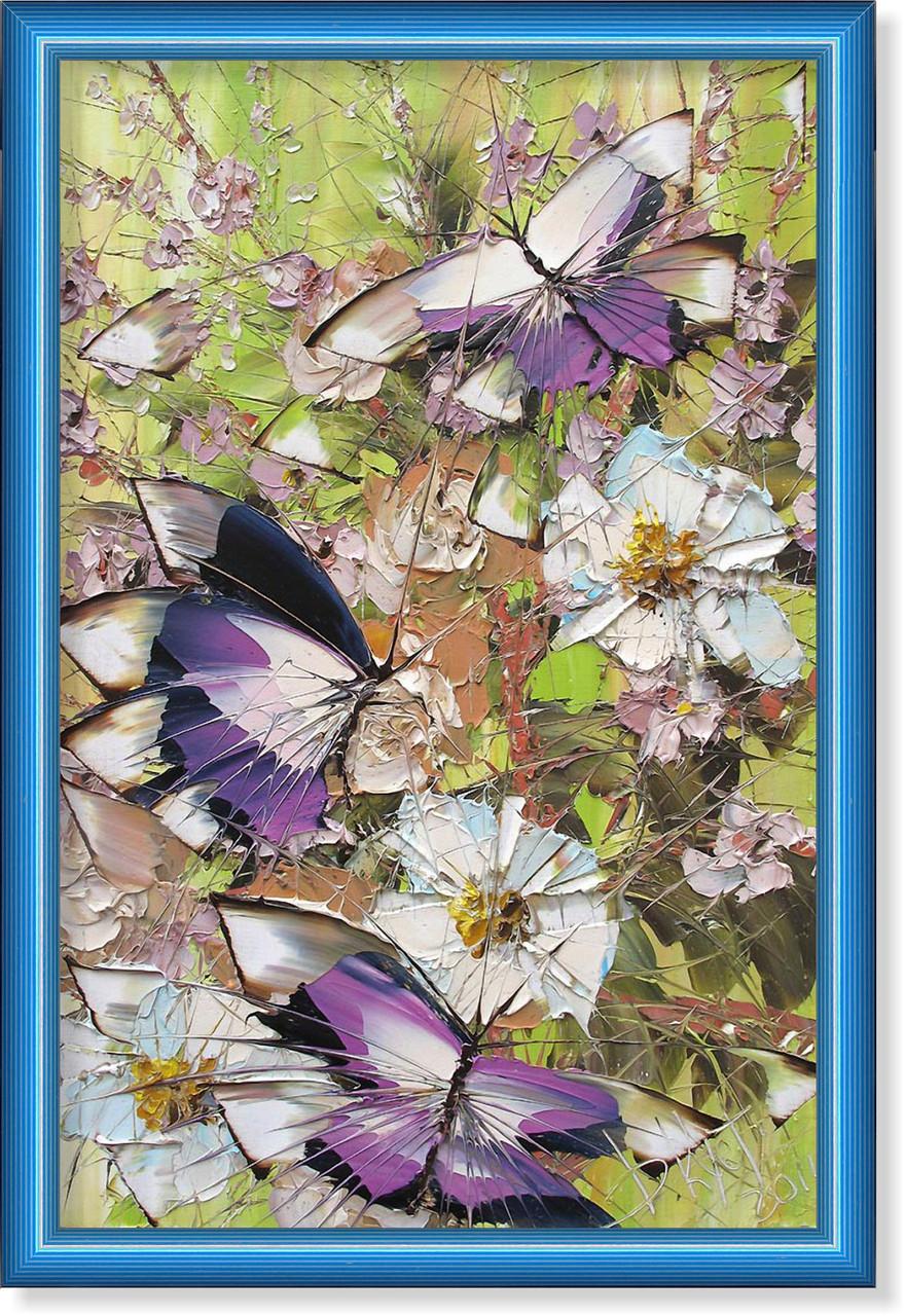 Репродукция  современной картины  «Бабочки и белые цветы» 30 х 45 см