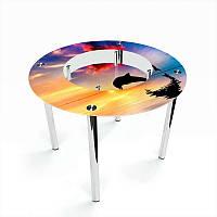 Стол кухонный стеклянный Круглый с полкой Ocean 70х70 *Эко (БЦ-стол ТМ)