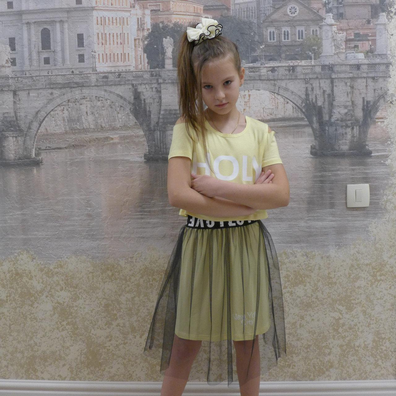 Комплект-футболка+юбка  для девочки, размеры на рост 128 - 156