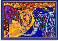 Репродукция  современной картины  «Сказочные слоны» 30 х 45 см