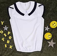 Блуза на девочку, короткий рукав, р. 122-146, белый, фото 1