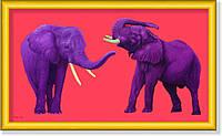 Репродукция  современной картины  «Фиолетовые слоны на красном» 30 х 50 см