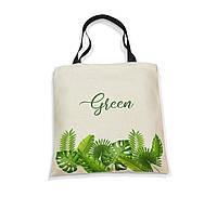 """Эко-сумка с черной ручкой  """"green"""""""