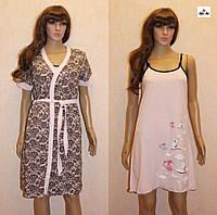 Комплект женский летний халат и ночная рубашка розовая Аист, для беременных и кормящих мама 44-54р., фото 1