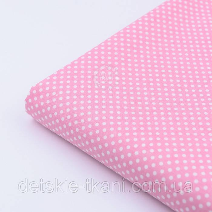 """Лоскут ткани """"Пунктирный горошек"""" белый на бледно-розовом №1919, размер 51*75 см"""