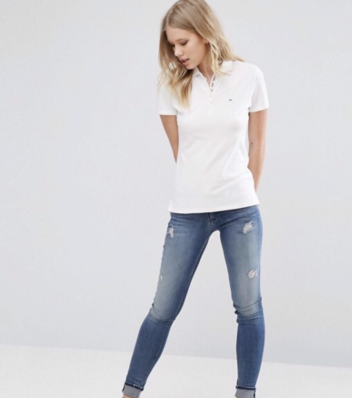 Женская футболка поло Tommy Hilfiger белая