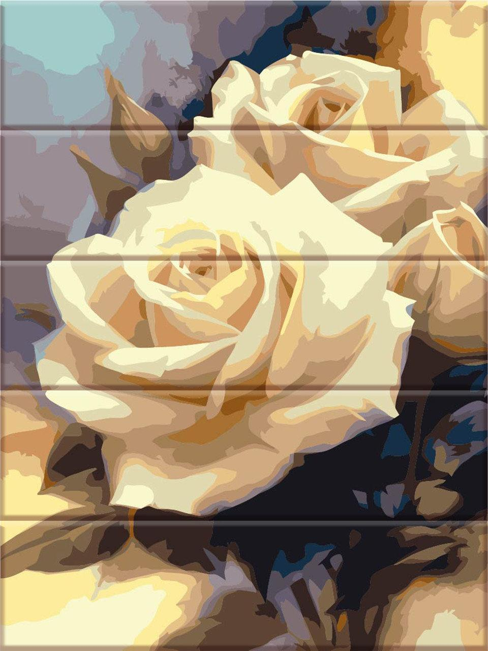Раскраска по номерам на дереве Пастельные розы ArtStory ASW043 30 х 40 см