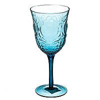 Стеклянные бокалы из цветного стекла 21 см, 380 мл. (цвет морской волны) комплект 6 шт.