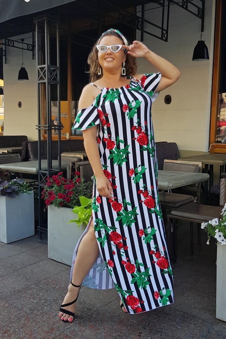 Платье женское длинное из трикотажа с разрезом в полоску (К28081)