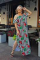 Платье женское длинное из трикотажа с разрезом в полоску (К28081), фото 1