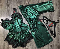 Атласный изумрудный комплект домашней одежды  081-002-1.