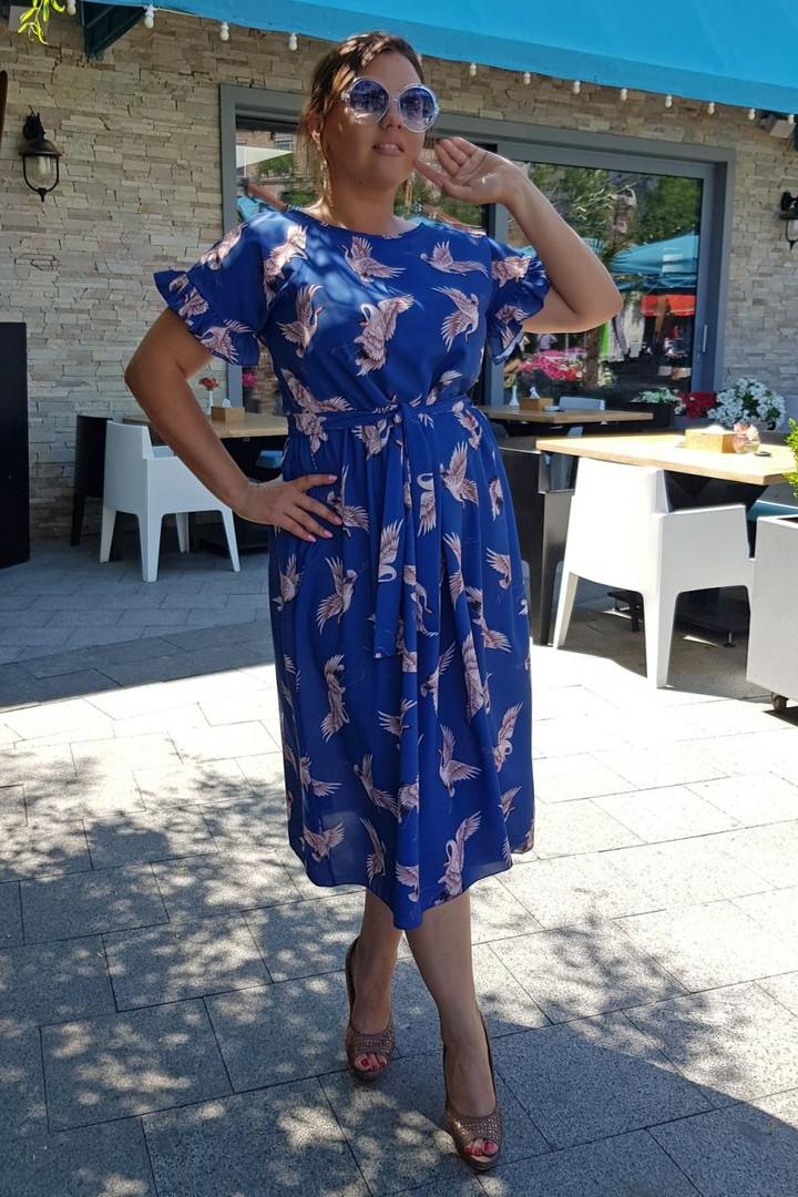 Платье женское длинное из шелка с принтом под пояс (К28082)