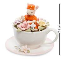 Статуэтка фарфоровая Мышка в цветочной чашке Pavone CMS-62/ 3