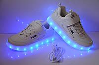 Светящиеся кроссовки LED с зарядкой от USB, 26, 27, 28, 29, 30, 31, 32, 33, 34, 35, 36 р.