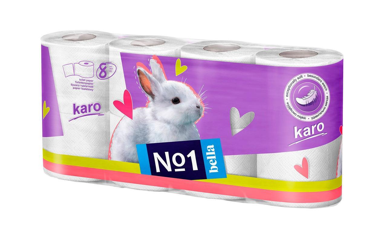 Туалетная бумага из целлюлозы (рулончики). Karo, белый уп. по 8 шт.