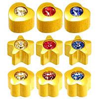 Серьги для прокола ушей формы с кристаллами Caflon Gold 9 пар
