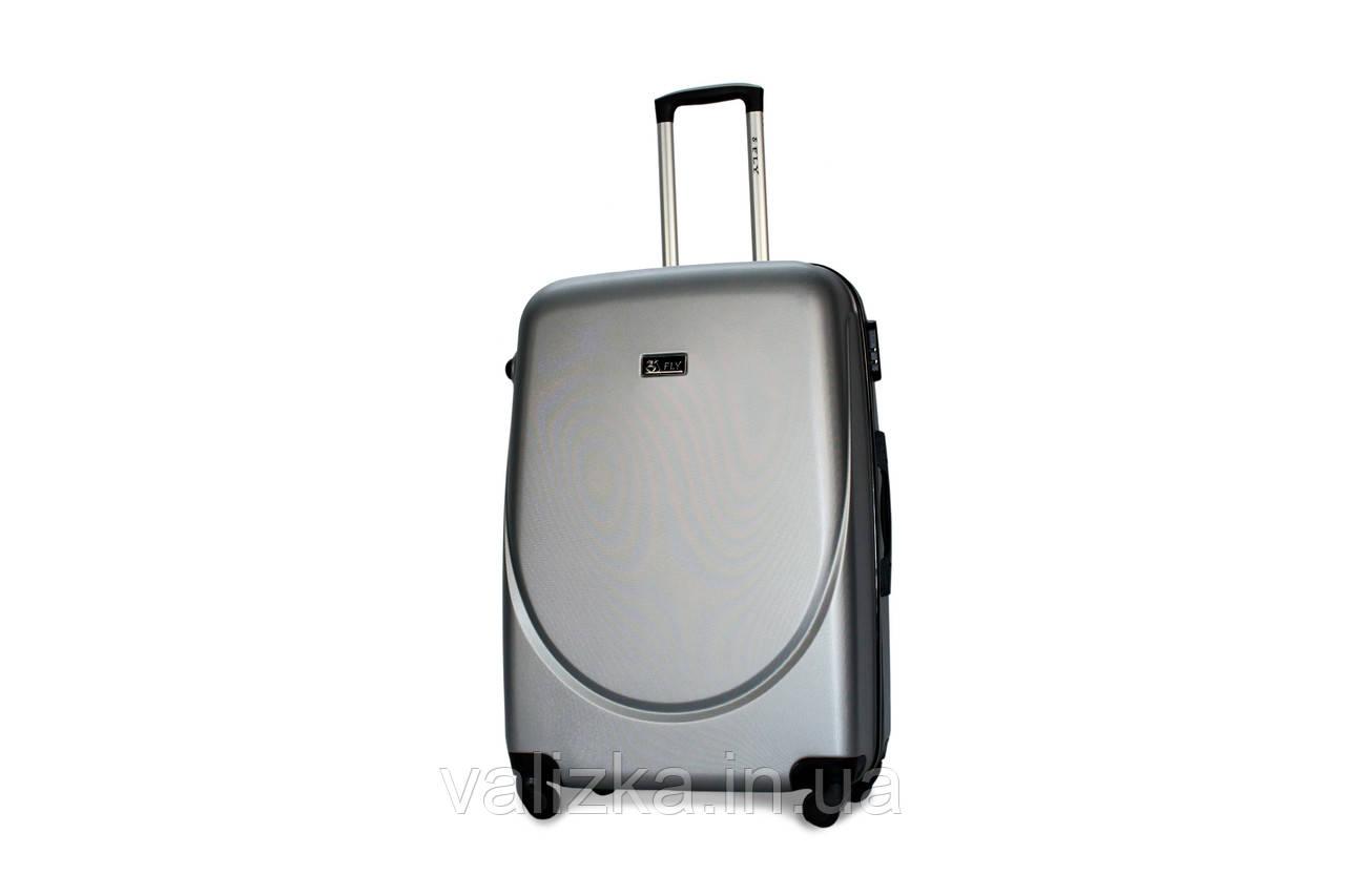 Большой пластиковый чемодан Fly 310 серебро