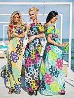 """Летнее шифоновое платье-сарафан """"Кольца"""" с оголенными плечами (3 цвета)"""