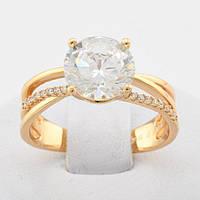 Кольцо Xuping Jewelry размер 18, с большим камнем, медицинское золото, позолота 18К. А/В 3596