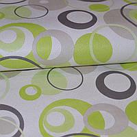 Обои на стену бумажные светлые с зелеными и серыми кругами 0,53*10м