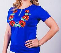 Женская футболка цвета электрик с красными маками, фото 1