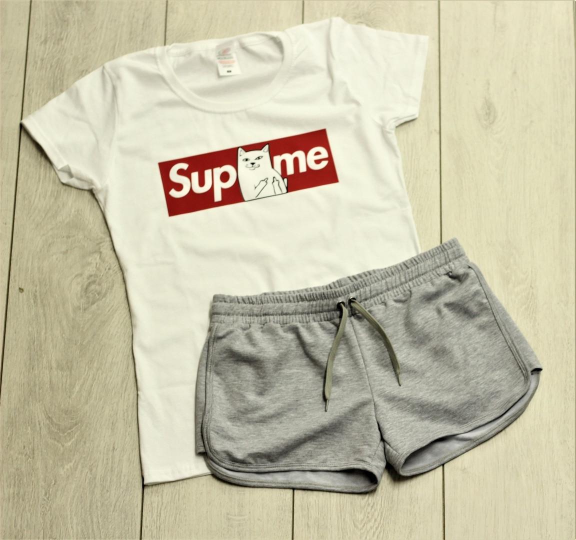 Женский костюм футболка шорты комплект Supreme RipnDip белая с серым. Живое фото