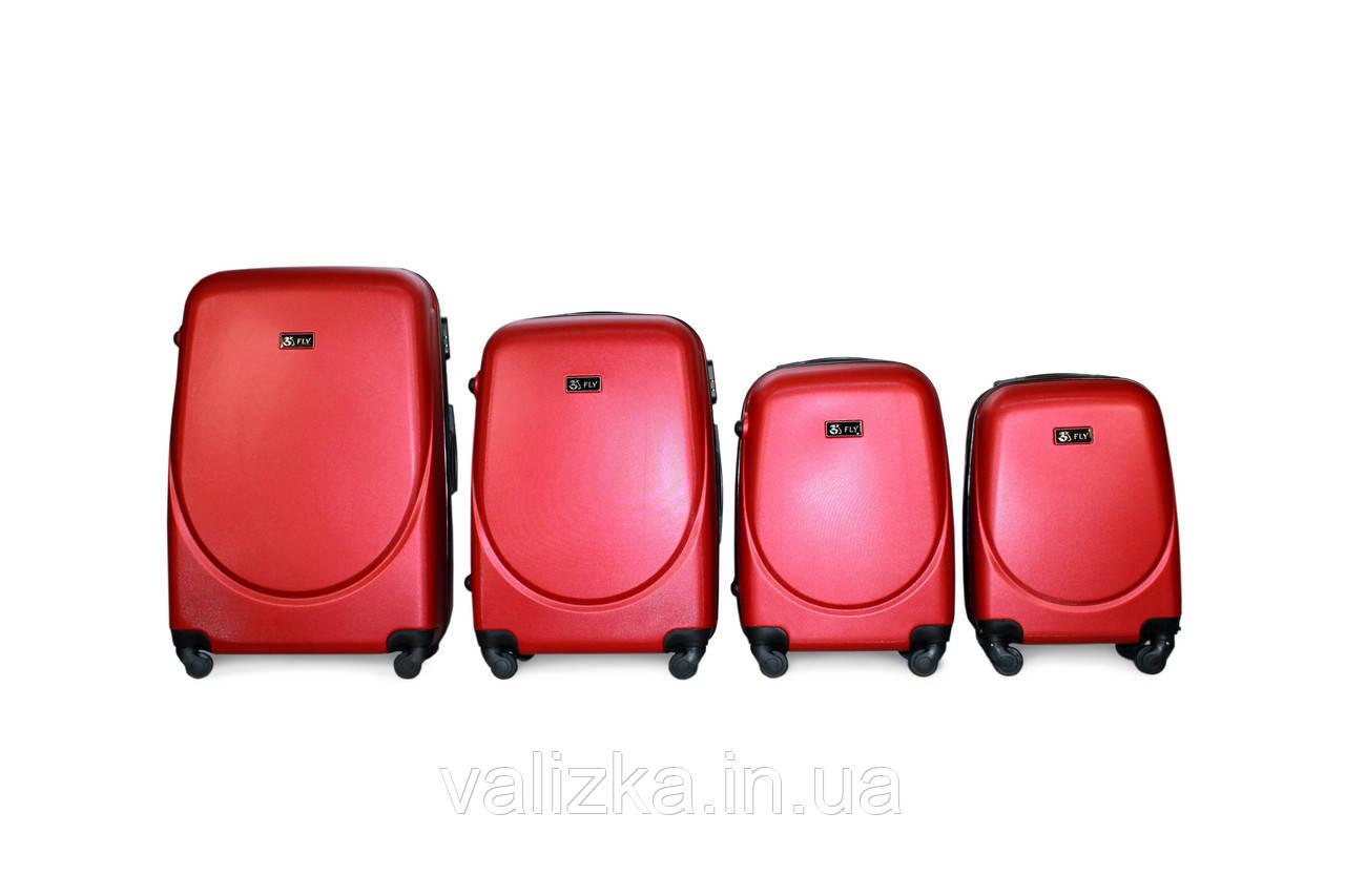 Комплект чемоданов из поликарбоната 4 штуки мини, малый, средний, большой Fly красный