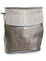Рюкзак женский кожаный серебристый 8504-4 Light Silver, фото 1