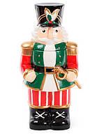 Красивая новогодняя банка керамическая для хранения сладостей 3л Щелкунчик, цвет - зеленый