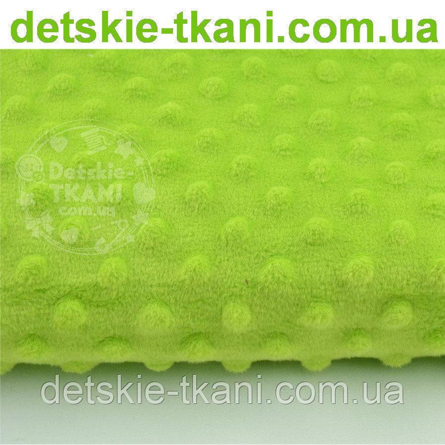 Лоскут плюша  minky светло-зелёного цвета, размер 50*80 см