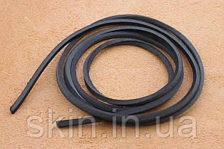 Шнурок из натуральной кожи, ширина 3.5 мм, толщина 3.5 мм, черного цвета, арт. СК 9028