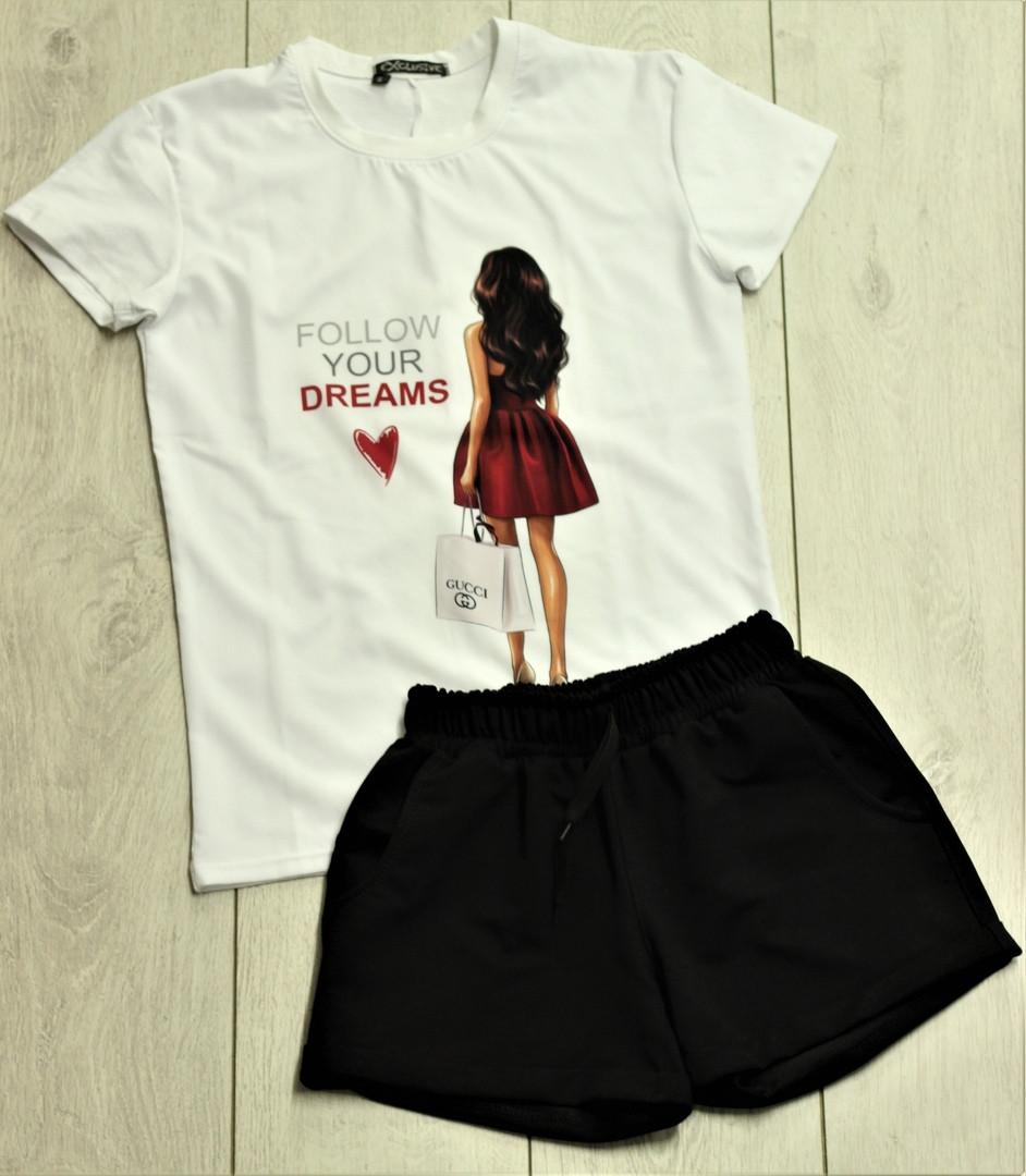 Жіночий костюм, шорти з футболкою комплект Drems біла з чорним. Живе фото